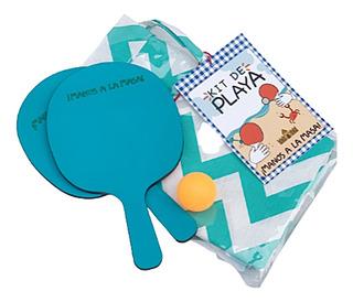 Kit Playa Playero Paleta Pelota Lona + Bolso