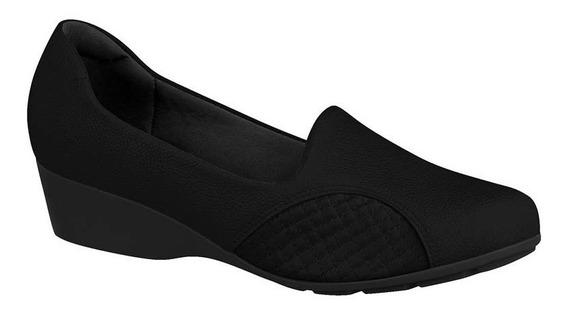 Sapato Anabela Modare Ultraconforto Preto E Marrom Cd323