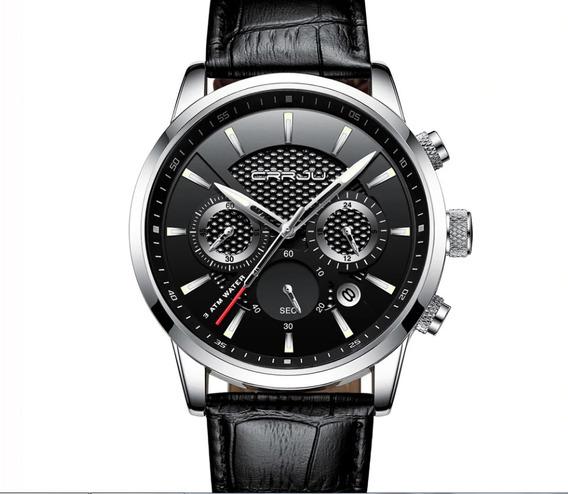 Relógio Masculino Cronógrafo Pulseira Couro + Brinde Grátis