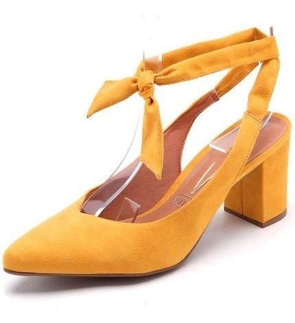 Sapato Aberto Atrás Vizzano Salto Medio Amarrar No Tornozelo