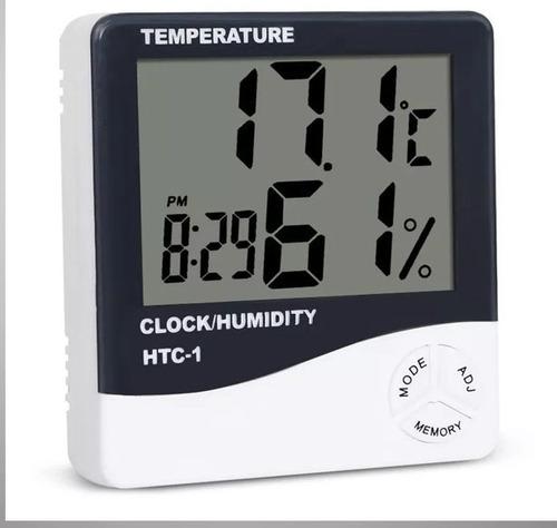Imagem 1 de 3 de Termo Higrômetro Relógio Digital Medidor Umidade Temperatura