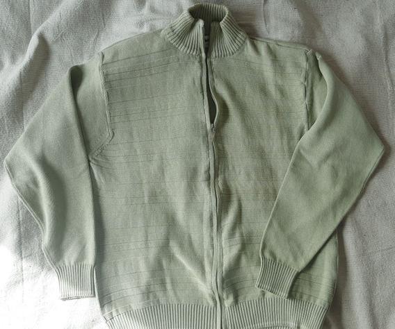 Buzo Cardigan Hombre Con Cierre Sweater Campera Verde
