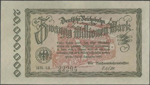 Alemania Deuts. Reichsbah 20.000.000 Mark 18 Sep 1923 Ps1015