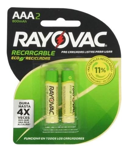 Pilas Recargables Aaa Rayovac Reciclada 800mah X2 Unid.