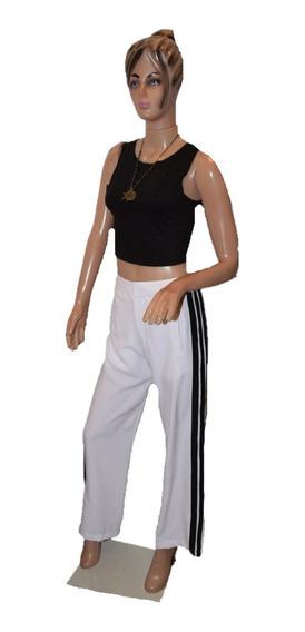 Rosh Pantalon Blanco Con Raya Negra Al Costado