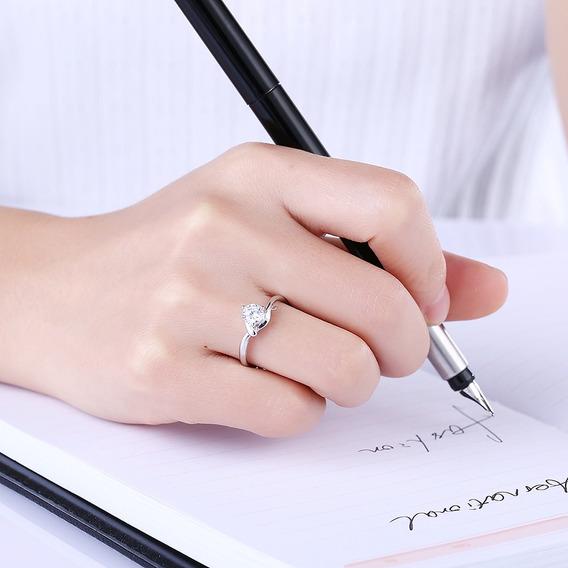 Anillo De Plata 925 Con Diamantes, Diseño Romántico
