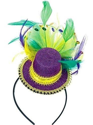 Diadema Con Sombrero De Copa Amscan Mardi Gras Con Plumas 1