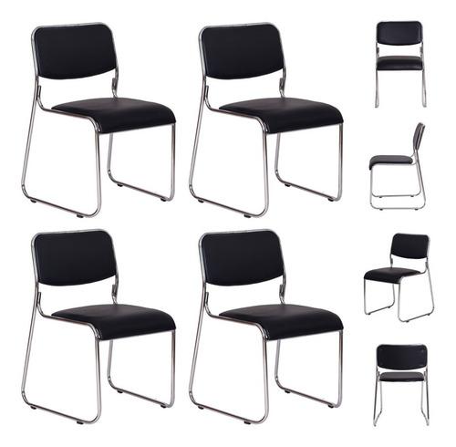Kit 4 Cadeiras Office Dakar Preta Base Fixa Cromada