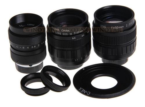 Lente Cctv Kit Com 3 Unidades + C-mount + C-s Para Sony Nex