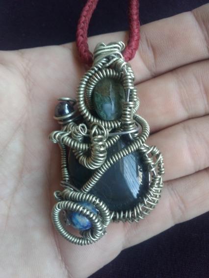 Dije Collar Obsidiana Agata Sodalita Alambre Moderno Moda