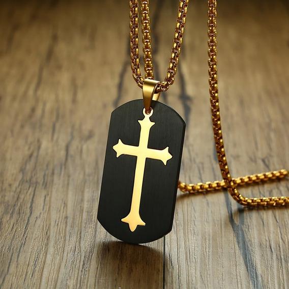 Corrente Cordão De Ouro Folheado Cruz Masculino Envio Em 24h