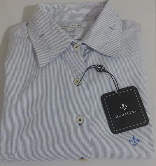 Camisa Dudalina Feminina Original - 42 - Azul Listrada