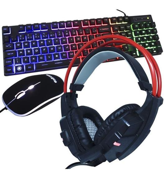 Kit Teclado Mouse Headset Gamer Abnt2 Pc Usb Vermelho Led
