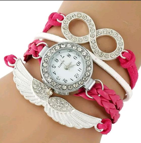 Relógio Anjo Eterno Com Strass Pink Luxo - Envio Imediato