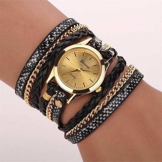 Relógio Bracelete Dourado Preto E Branco Vintage Correntinha