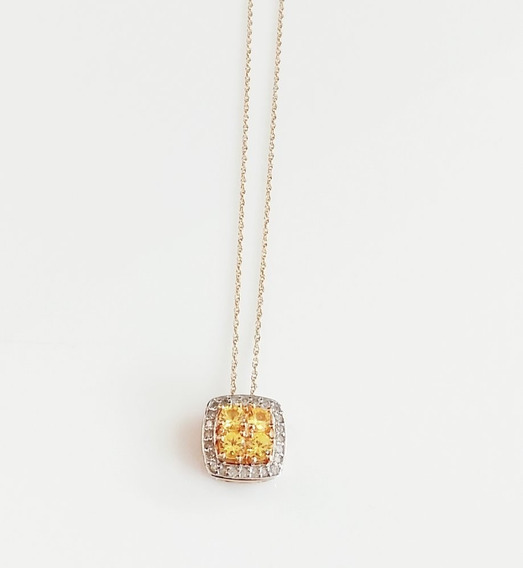 Gargantilla 14k Oro Amarillo Zafiro Diamante Dama Regalo