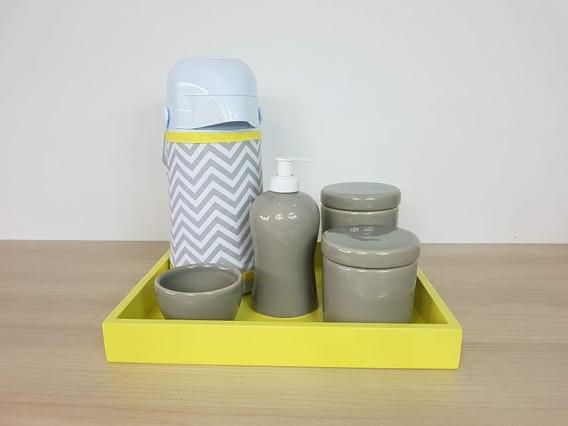 Kit Higiene Bebe Porcelana Cinza E Amarelo Garrafa Com Capa