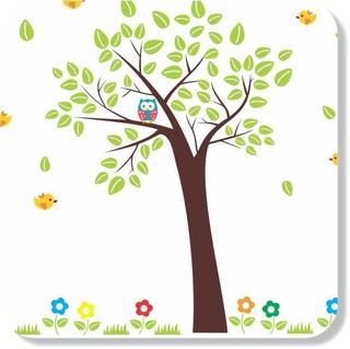 Adesivo De Parede P/ Quartos E Salas Árvore Com Corujas Fofa
