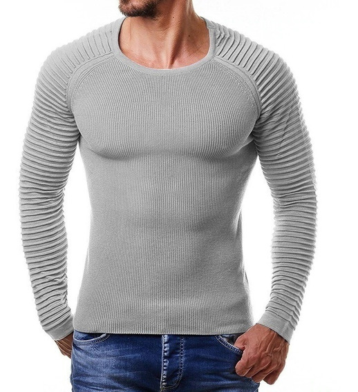 Sweater Basico Slim Fit Hombre Casual Fashion Solid Strip