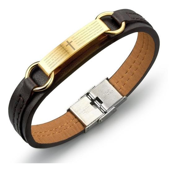 Bracelete Pulseira Masculina Couro Legitimo Aço Inox Ouro18k