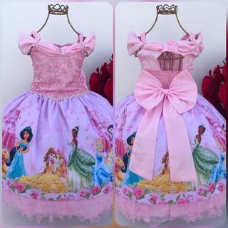 Vestido Temático Sublimado - Princesas Da Disney