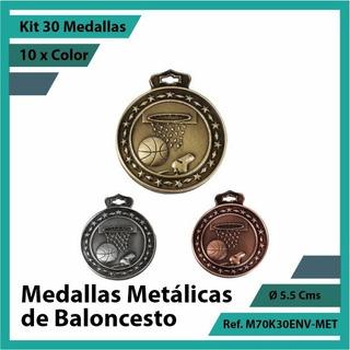 Kit 30 Medallas En Bogota De Baloncesto Oro Metalica M70k30