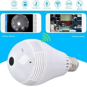 Camera Ip Seguranca Lampada Vr 360 Panoramica Espia Wifi