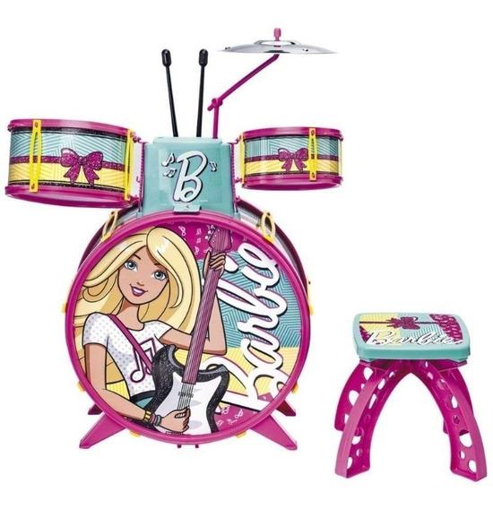 Bateria Infantil Brinquedo Barbie Rosa Com Banqueta