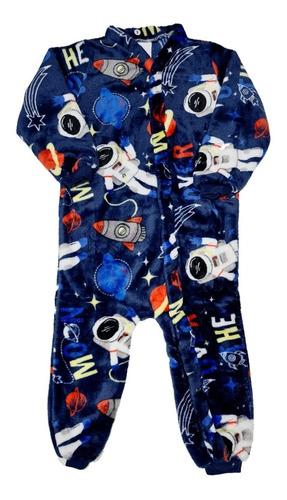 Pijama Infantil Inverno Macacão Fleece Soft  Menino 1a3 Anos