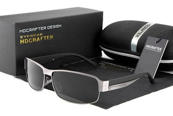 Óculos De Sol Hdcrafter Retangular Polarizado Original