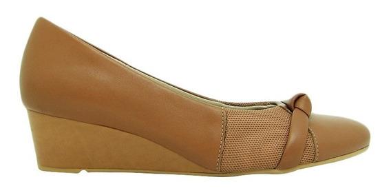 Sapato Usaflex Ad3207 Couro Liso Anabela Joanete Conforto