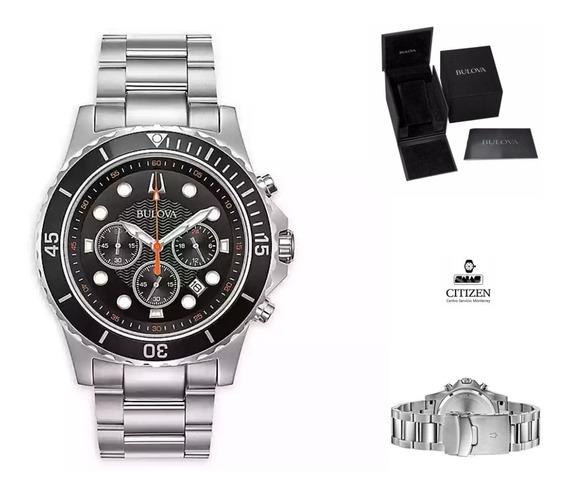 Reloj Bulova 98b326 Crono Hombre Acero Wr100 Watchsalas Full