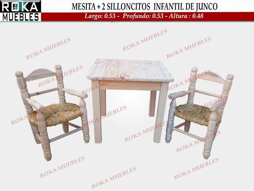 Mesa Infantil + 2 Sillones Infantil De Junco Roka