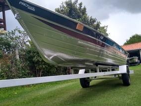 Barco De Alumínio Semi Chata E Bicudo 5 E 6 Mts Com Carreta.