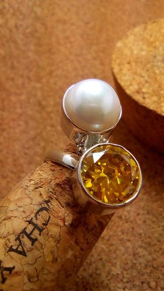 Elegante Anillo En Plata Fina Ley .925 Perla 100% Zirconias