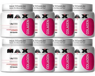 Kit 8x Colágeno Hidrolisado - 800 Capsulas - Max Titanium