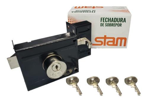 Fechadura Sobrepor P/ Portão Stam 701/100 Com 4 Chaves