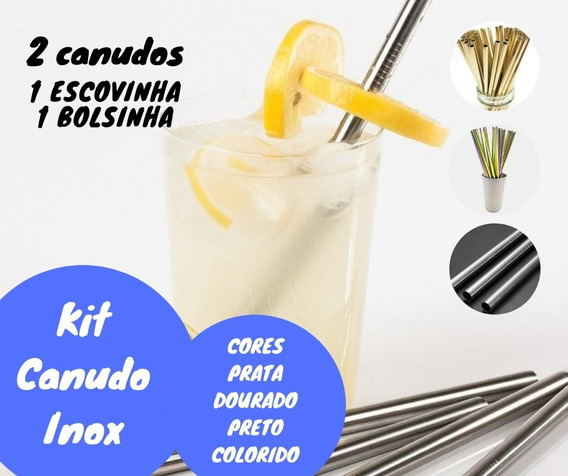 Kit Canudo Inox Ecológico Reutilizável Reto Ecológico Escova Bolsinha 4pcs Bolsa