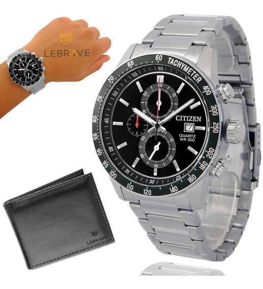 Relógio Masculino Citizen Prata Garantia De 1 Ano + Carteira