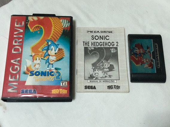 Mega Drive : Sonic 2 Tectoy Layout Vermelha Completa Cx Manu