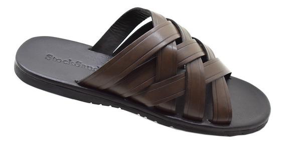 Chinelo Masculino Em Couro Legitimo Stock Sandals Produto Direto Da Fabrica