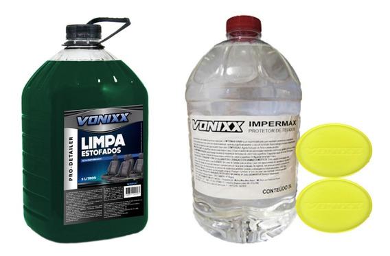 Kit Limpa Estofado E Impermeabilizante Tecido Carros Sofá