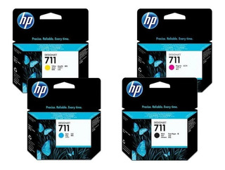 Kit 4 Cartuchos Hp 711 Para Plotter T120 De 80 Ml Negro Y 29