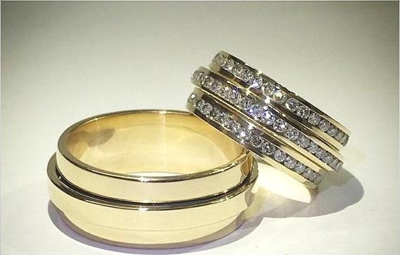 Par De Aliança Luxo Em Ouro 18k 750 Com 100 Diamantes Sonho