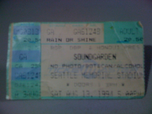Ingresso Banda Soundgarden 1994 Seattle Stadium Frete 5,00