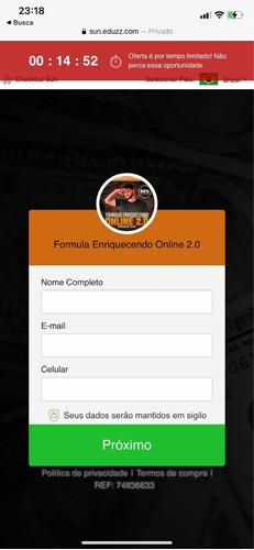 Fórmula Do Enriquecimento On-line Feo