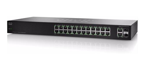 Imagen 1 de 3 de Switch Cisco Sf112 24p 10/100 + 2 Giga   24