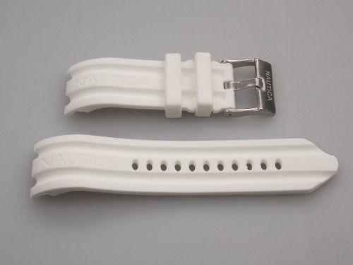 Pulseira Relogio Nautica 24mm Branca Silicone