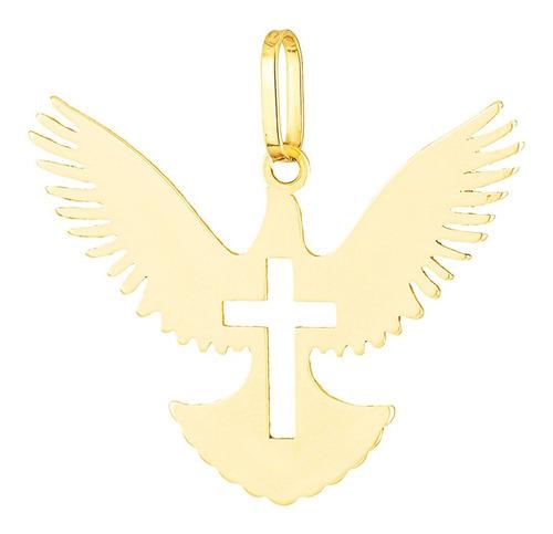 Imagem 1 de 6 de Pingente Ouro 18k Feminino Divino Espirito Santo Pde0060