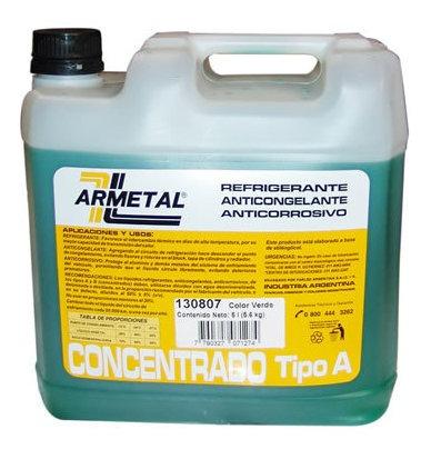 Liquido Anticongelante Armetal 5 Litros Verde  Permanente
